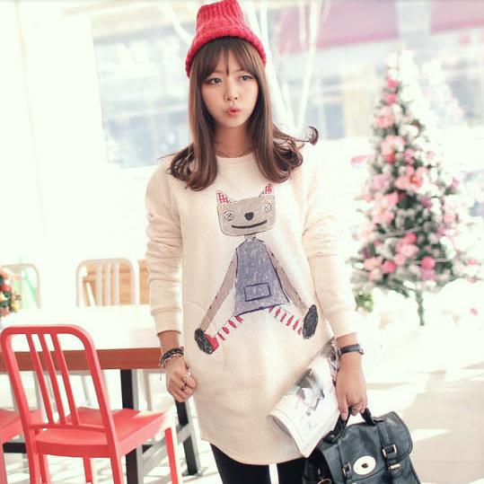 春季孕妇装孕妇卫衣春天时尚韩国版彩棉卡通打底衫薄款中长款上衣