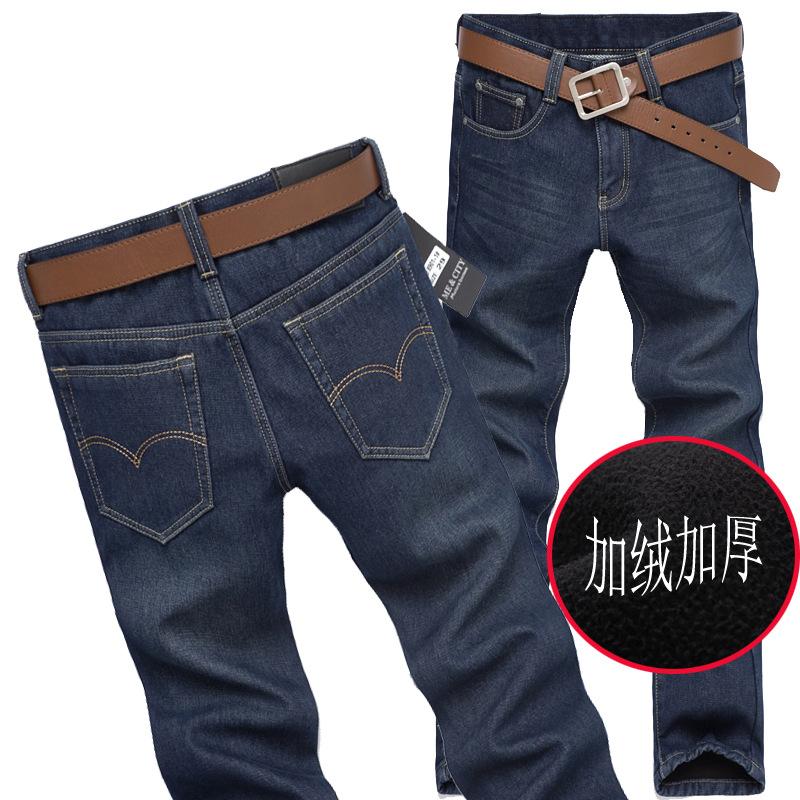 加绒加厚男士牛仔裤秋冬厚款修身直筒加绒保暖牛仔长裤厚JRA#12