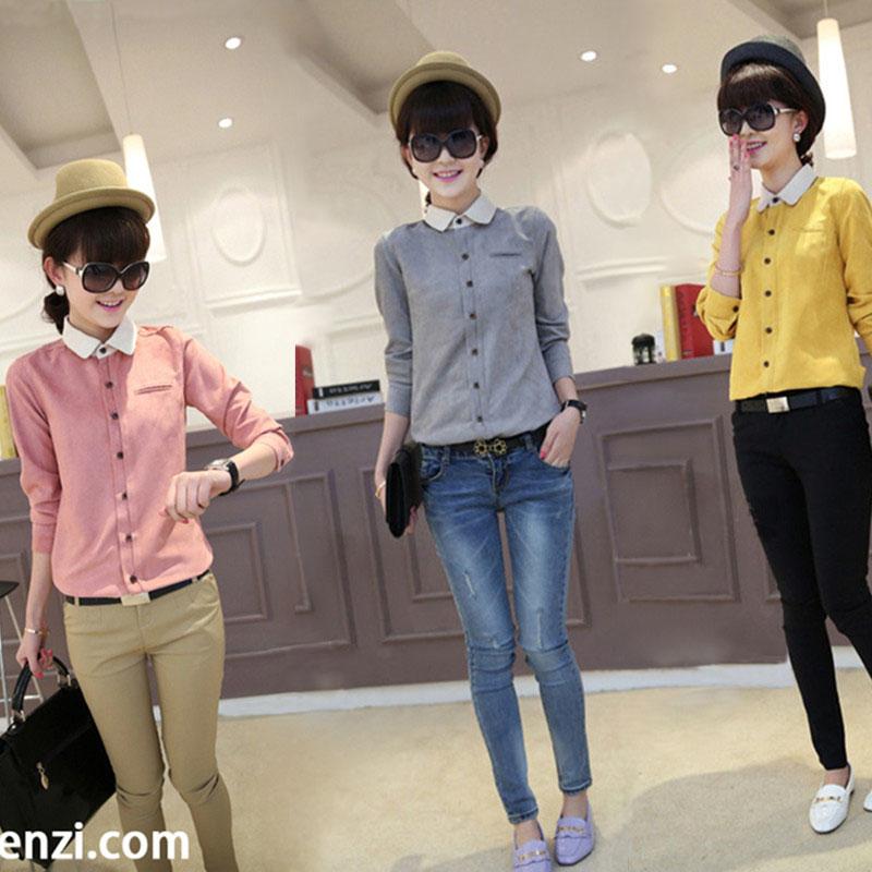 春秋新款韩版显瘦纽扣纯色韩国大码修身翻领假口袋长袖女款衬衫