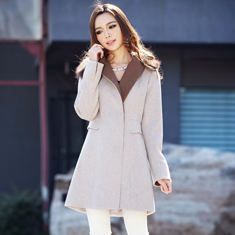 2014新品秋冬款长款毛呢外套 保暖修身长款双排扣