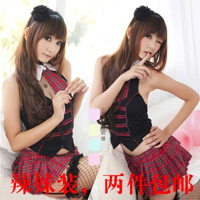 正点露背马甲红格子学生装cos角色扮演服装夜店酒吧舞台演出服装