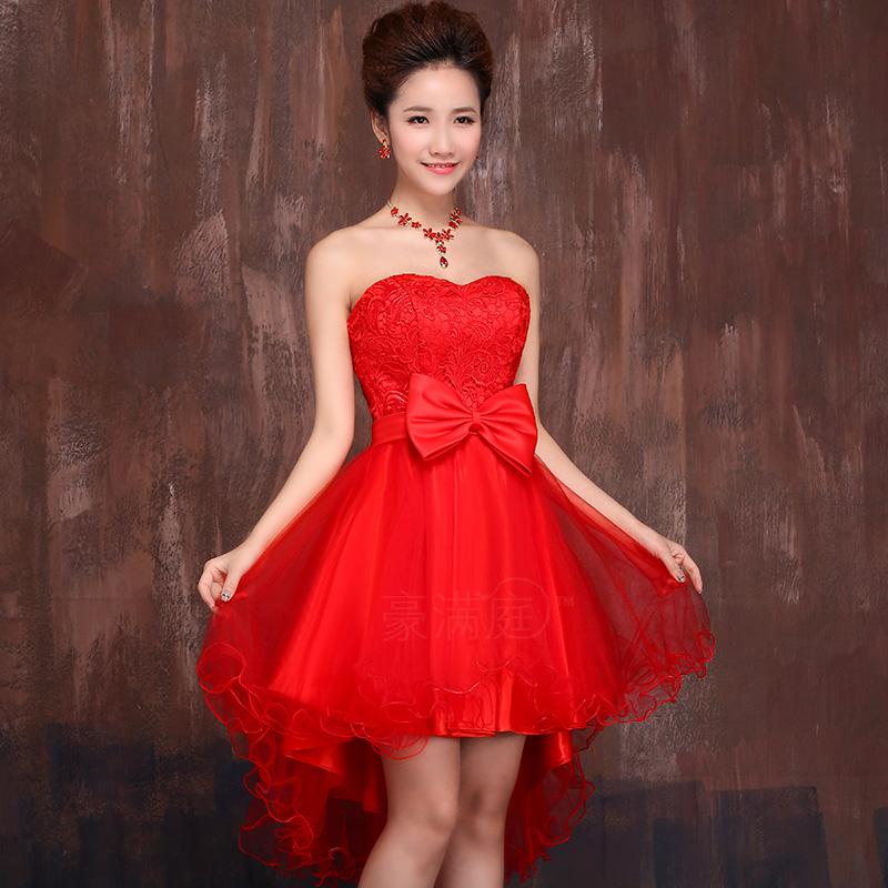 新娘前短后长敬酒服红色 2014新款结婚礼服 伴娘服修身绑带敬酒服