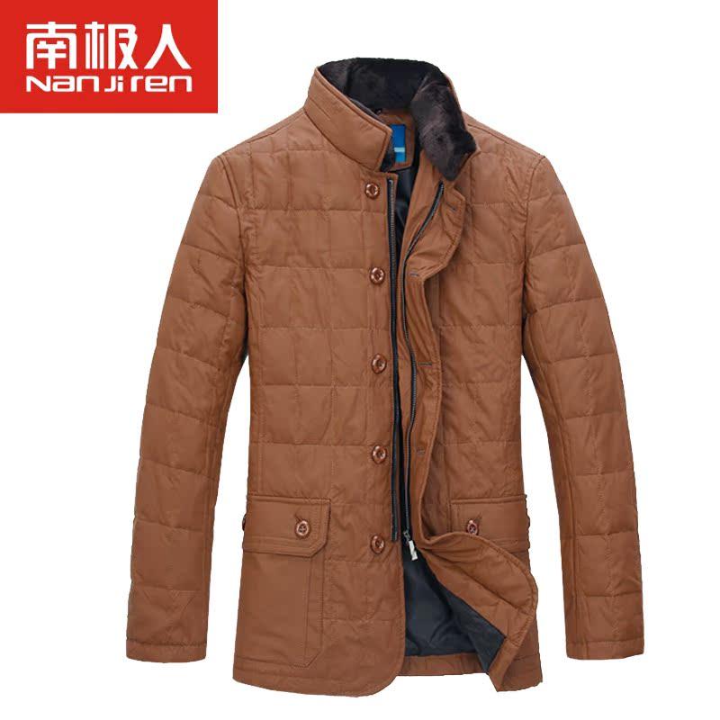 男装男装冬季新款男士立领pu皮保暖毛领羽绒服NG213Y1806