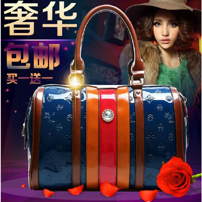 包邮2014最新款 潮漆皮女包包上档次高端大气手提包 单肩斜跨包包