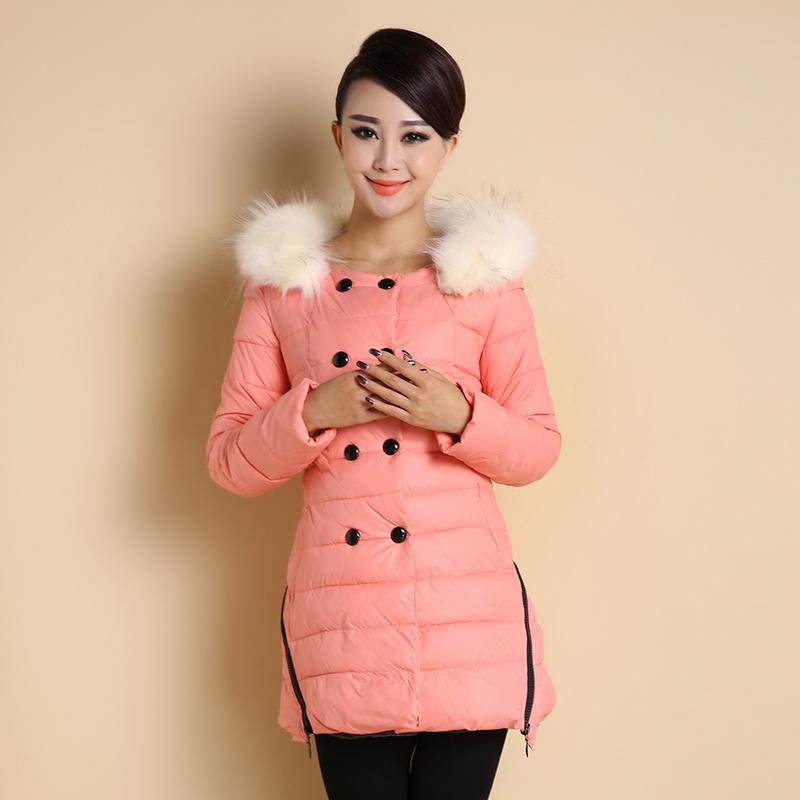 仿真毛领羽绒服女中长款个性双排扣修身显瘦冬季加厚保暖女士外套