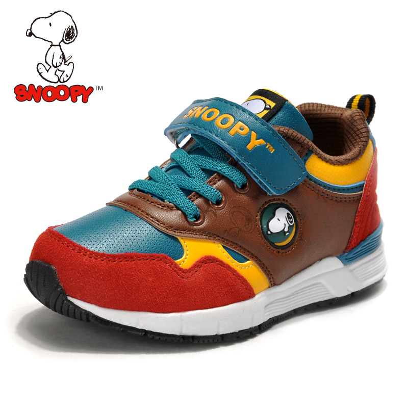史努比童鞋 2014春季上新儿童运动鞋 男童革面撞色韩版潮中大童鞋
