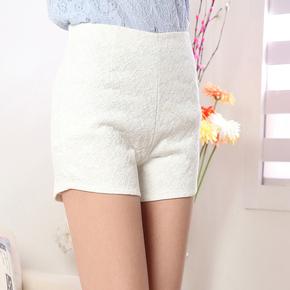 2015夏装新款韩版休闲印花蕾丝短裤高腰热裤糖果色女裤裙显瘦大码