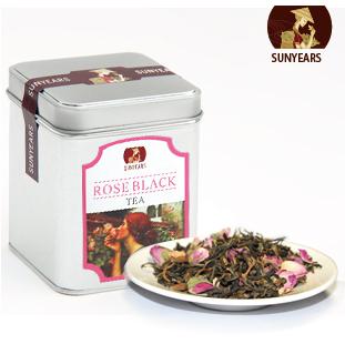 玫瑰红茶 进口法兰西玫瑰花茶 搭配云南滇红 花草茶养颜必备 包邮