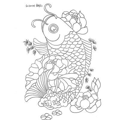 工笔画白描底稿线描手绘 布贴画图纸花卉花鸟山水人物 32鱼跃龙门