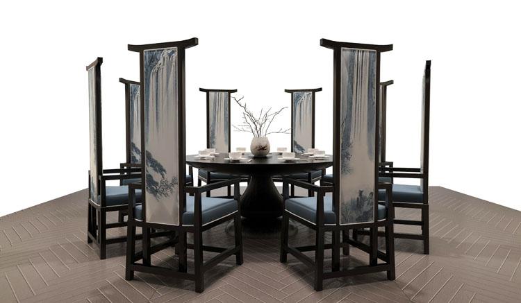 新中式家具 酒店包厢聚餐圆餐桌布艺高背椅 后现代实木餐桌椅组合