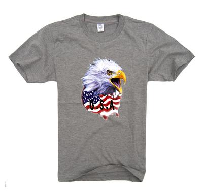[今日特价] 怪咖JIA美国风白头鹰男士短袖T恤班服圆领半袖纯棉打底衫加肥加大