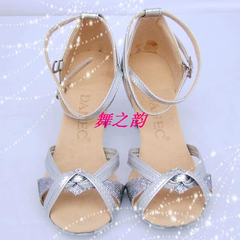 2011新款舞鞋 成人拉丁舞鞋  舞蹈鞋 练功鞋  高跟闪亮打结  银色