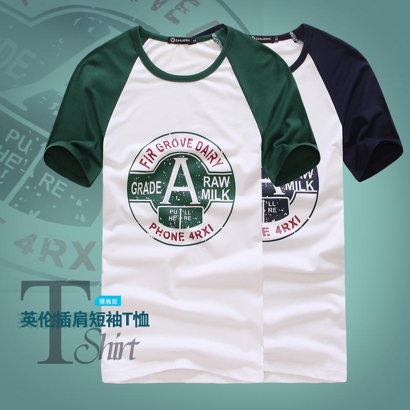2014男装新品 男式简约创意印花 男式纯棉圆领T恤休闲短袖tee