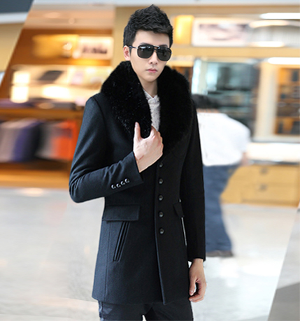 2014春秋新款男装 韩版修身呢大衣 男休闲毛呢大衣中长款毛领大衣