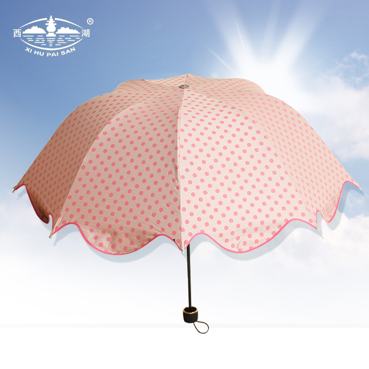 西湖伞女士雨伞 超轻折叠蘑菇伞 韩国公主伞超强防紫外线遮阳伞