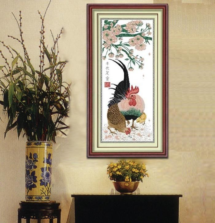蒙娜丽莎十字绣正品精准印花 新款大幅客厅丰衣足食公鸡图kS0