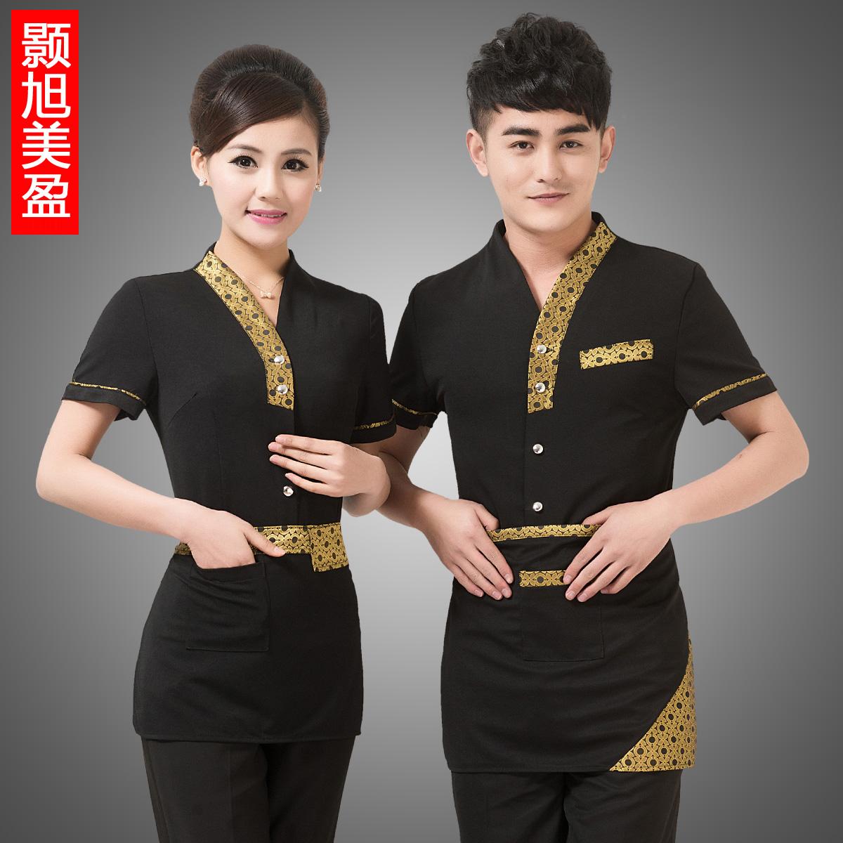 酒店工作服夏装女 西餐厅餐饮服务员制服 饭店传菜生服装短袖男黑