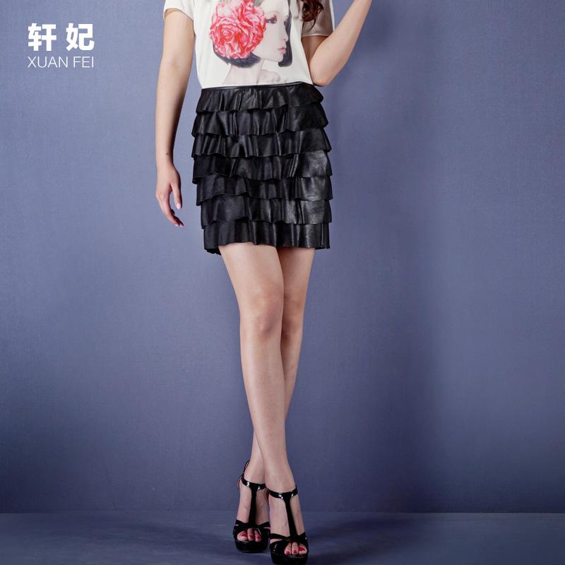 轩妃大码女装胖mm夏装2014夏季新品时尚显瘦大码短裙胖mmPU皮短裙