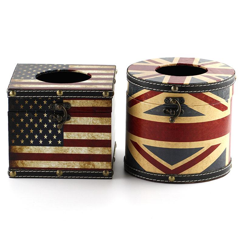 Etee英伦风车载家用收纳盒纸巾盒抽纸盒纸巾抽卷筒纸纸巾套 包邮