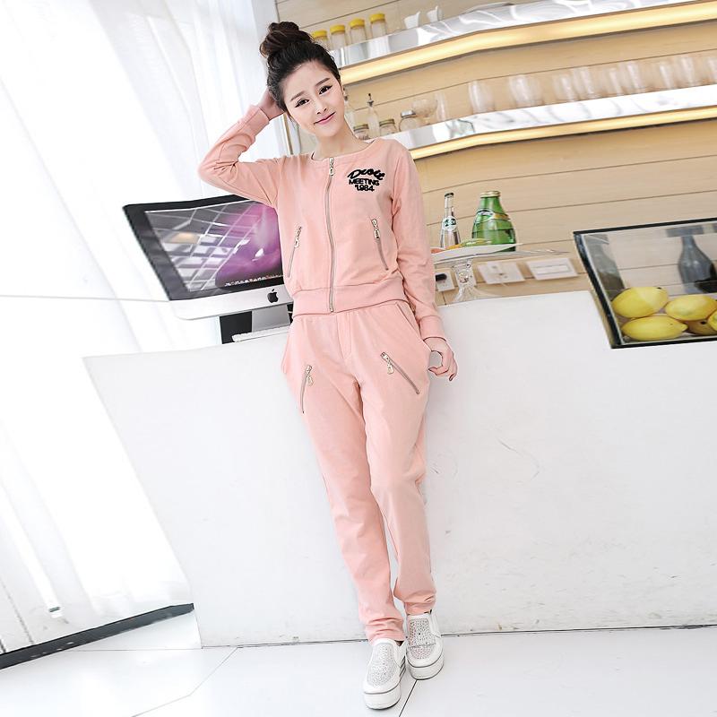 2014时尚休闲套装女春季新品两件小清新韩版修身杂志款运动服卫衣