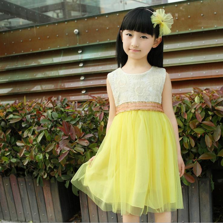 儿童连衣裙夏季新款童裙2014女童吊带裙公主裙纯色裙子黄粉绿三色