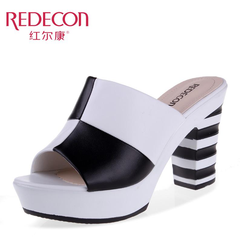 红尔康女鞋 2014凉鞋新款 舒适时尚简约百搭休闲粗高跟女拖鞋