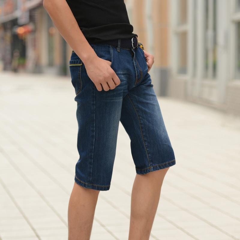 2014夏季纯棉修身直筒牛仔裤短款 男士短裤 5分男裤