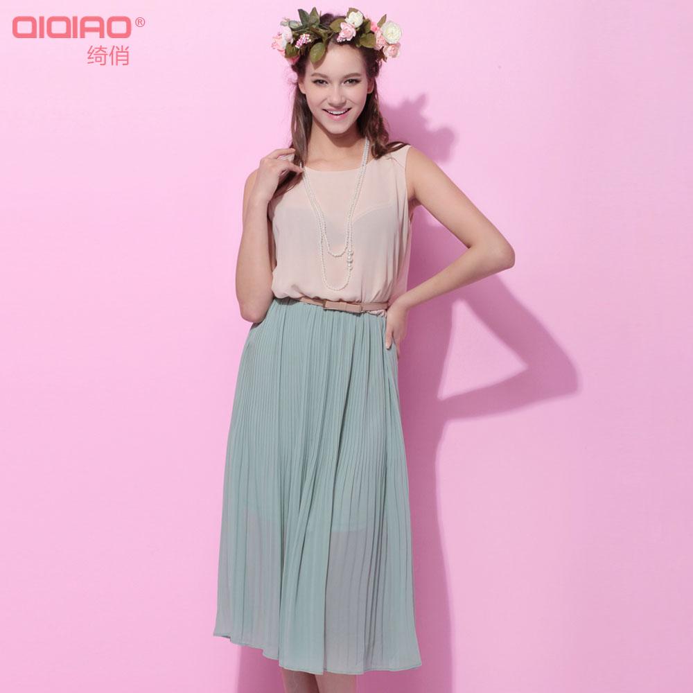 2014夏季新品雪纺连衣裙波西米亚长裙 宽松甜美无袖拼色百褶裙子