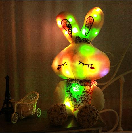 发光音乐兔子 LOVE兔发光抱枕 毛绒玩具 碎花兔公仔 生日礼物