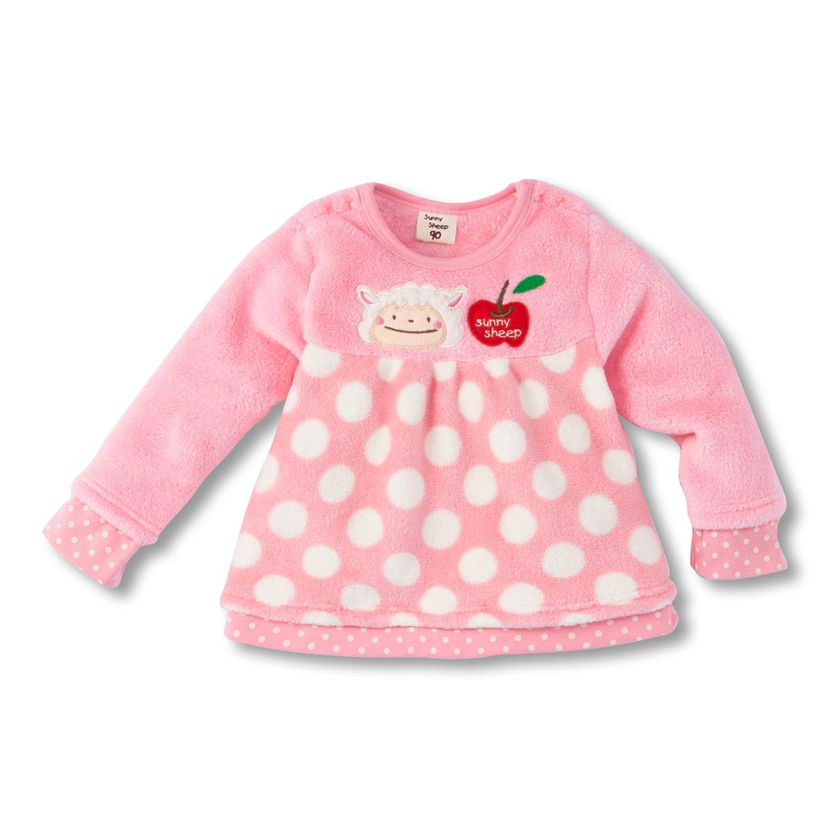nissen日本代购童装2014冬款女宝宝珊瑚绒上衣绒衣 特价现货原175
