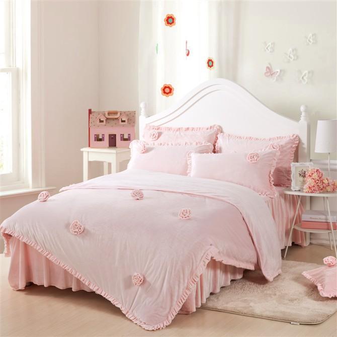 珊瑚绒法莱绒韩版公主款冬季保暖四件套 女童床上用品床裙被套