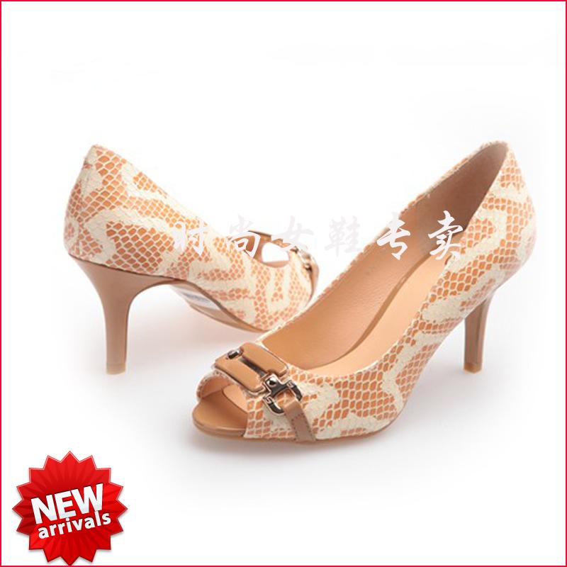 欧洲站女鞋 性感蛇纹金属饰扣女鞋优雅超高跟凉鞋鱼嘴鞋1750241