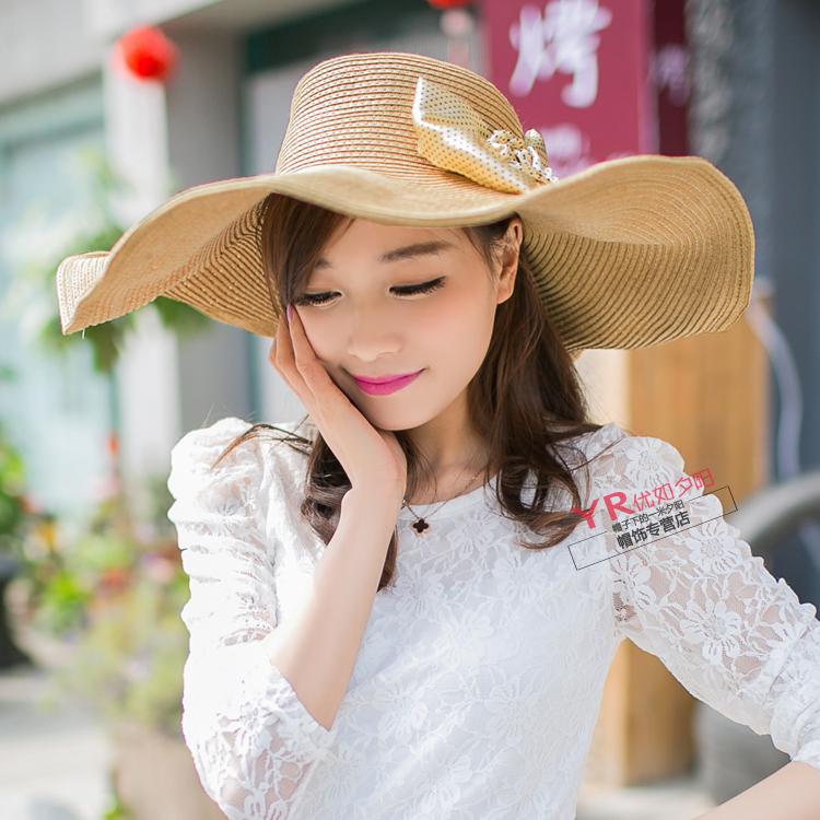 韩版韩国夏天防晒女士花朵蝴蝶结草帽遮阳帽大檐帽太阳帽沙滩帽子