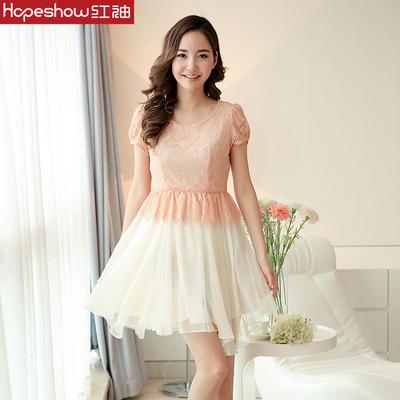 【169元2件】红袖夏装新款女装 桑蚕丝撞色短袖 连衣裙H8132332
