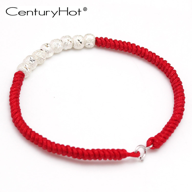 紅繩手鏈女純銀手鏈轉運珠羊年本命年紅繩手鏈首飾禮物飾