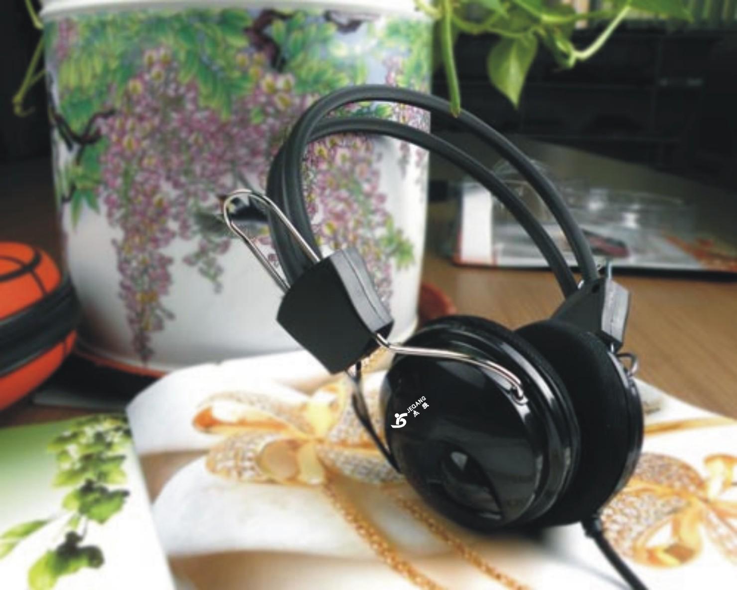 杰强 808耳机 黑色骗织线  抗暴力 适合网吧配机用 电脑配件批发