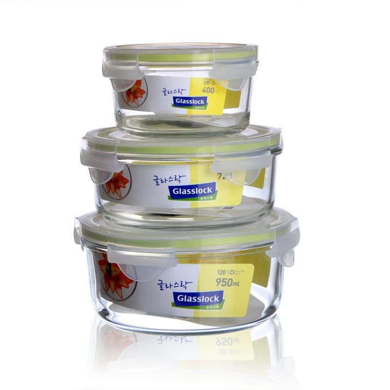 韩国glasslock三光云彩耐热钢化玻璃保鲜盒微波炉饭盒3件套装包邮