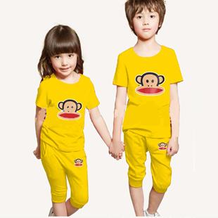2014夏季儿童套装男童运动套装休闲男女童大嘴猴短袖短裤2-7岁穿