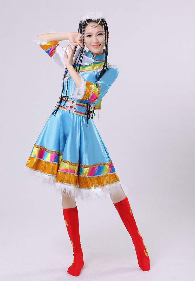 藏族精品女装少数民族表演服成人款蒙族舞蹈服西藏族蒙古舞服装