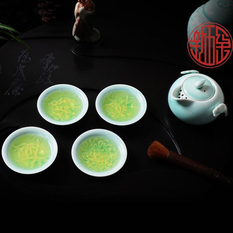 包邮精品养生瓷 龙泉青瓷活瓷茶具恬瓷功夫茶具梅兰竹菊浮雕 促销