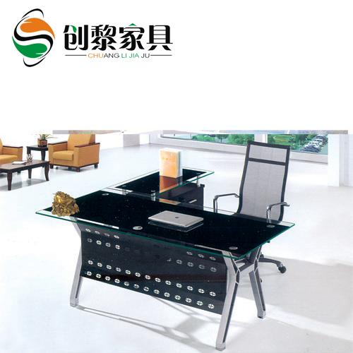创黎办公家具 钢化玻璃桌 办公台 大班台 商业老板桌可定制024