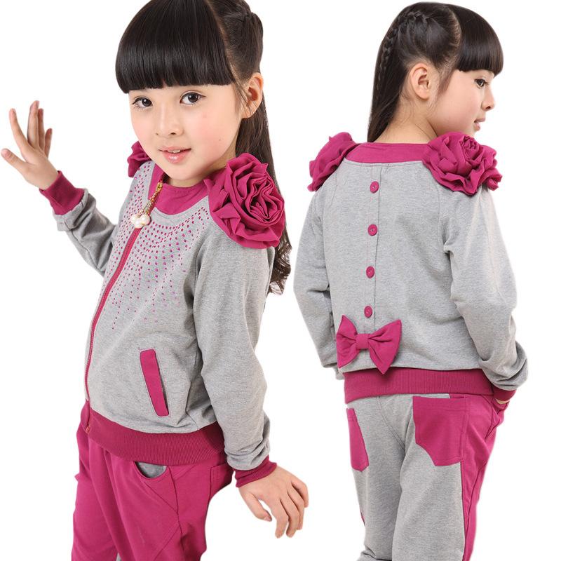 2014特价新款儿童装中大女孩童春秋装休闲运动套装宝宝两件套包邮