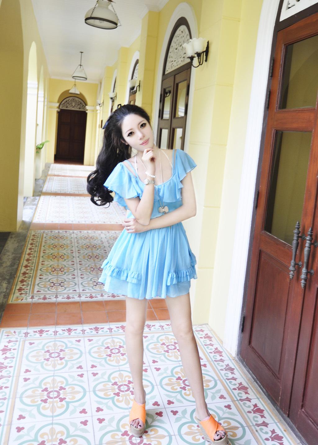 T-Baby 韩版雪纺蛋糕连衣裙 天蓝色 荷叶边短袖 2014新款夏装女装