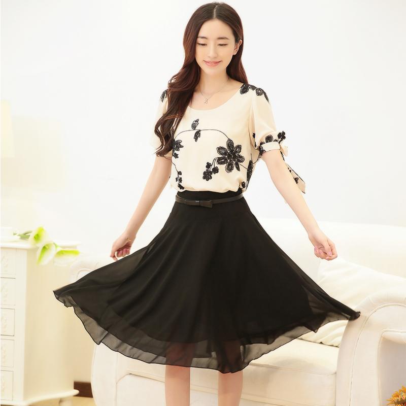 2014夏季最新款雪纺连衣裙假二件短袖韩版女士休闲连衣裙  送腰带