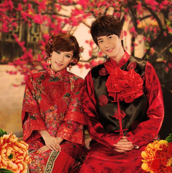 秀禾服新娘旗袍绣秀和服唐装中式结婚敬酒礼服复古装嫁衣男女组合