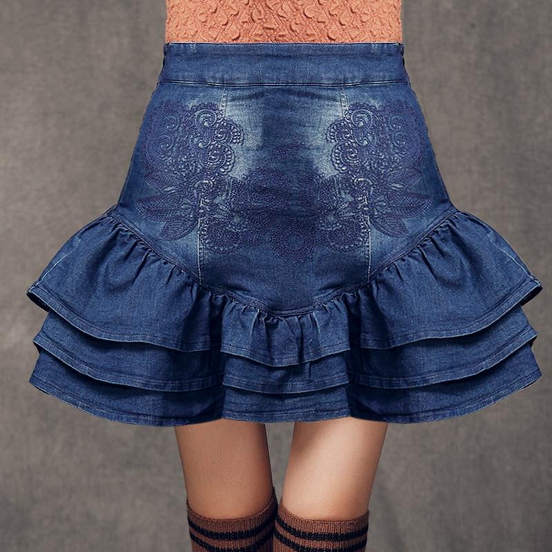欧州站CCDD绣花阿卡暮山溪2014秋装新款女装荷叶摆牛仔短裙半身裙