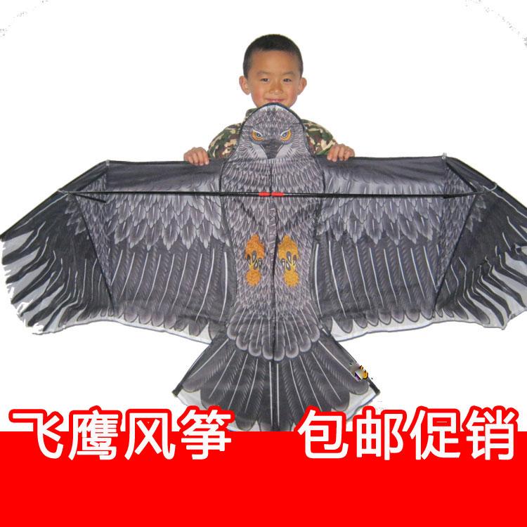 山东潍坊大型儿童卡通微风飞鹰风筝线轮高档特技可购夜光配件批发