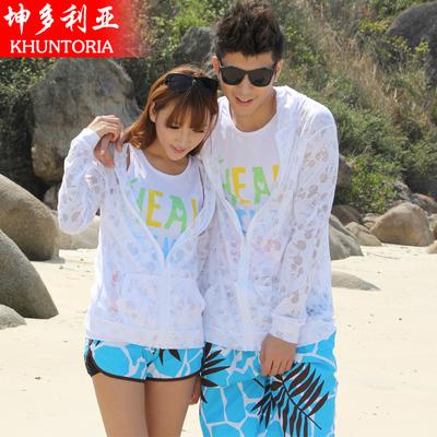 [两件减5] 防晒衣服棉女大码夏季长袖超薄短外套海边度假胖mm沙滩开衫情侣装