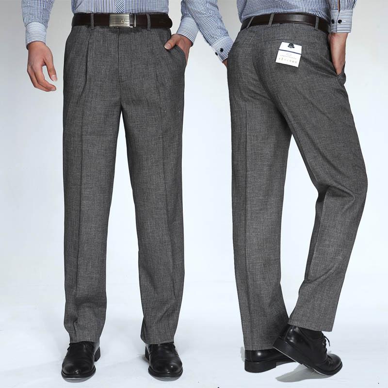 专卖店正品男士灰色宽松世界名牌西裤百搭中年大品牌西装裤男裤