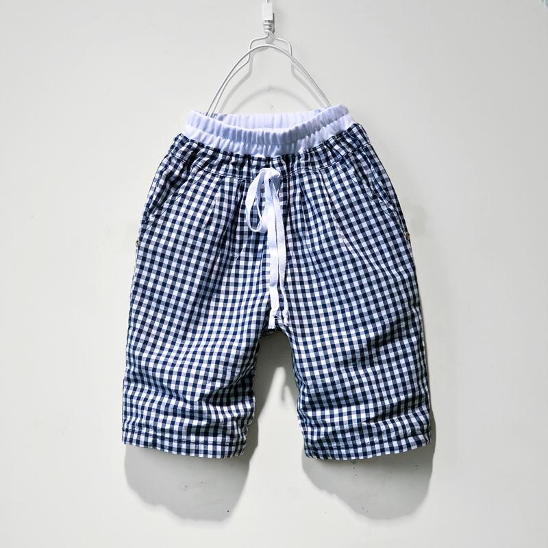 班比纳 男童中裤 儿童格子裤五分 童装2014夏装 男童裤子纯棉韩版